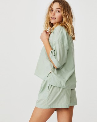 Cotton On Body Washed Woven Sleep Set - Two-piece sets (Washed Mint Chip)