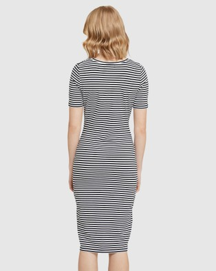 Oxford Penny Knit Striped Dress - Printed Dresses (Black)