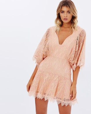 Talulah – Sweet Escape Mini Dress Pink Lace