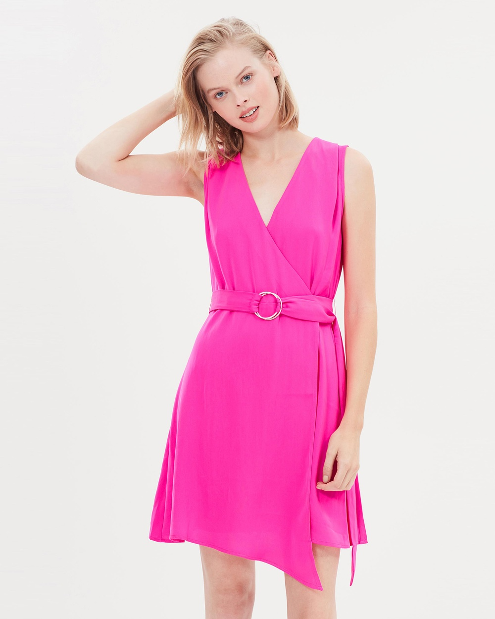 Warehouse Asymmetric Wrap Belt Dress Dresses Pink Asymmetric Wrap Belt Dress