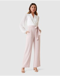 Forever New - Agatha Wrap Sheer Sleeve Jumpsuit