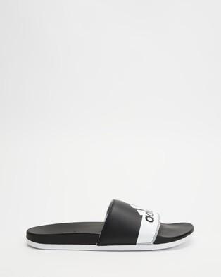 adidas Performance - Adilette Comfort Slides   Men's - Slides (Core Black, White & Core Black) Adilette Comfort Slides - Men's
