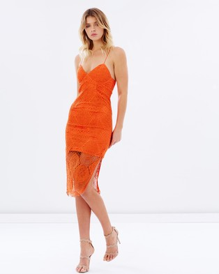 Bardot – Nikki Lace Up Dress – Bodycon Dresses (Vibrant Orange)