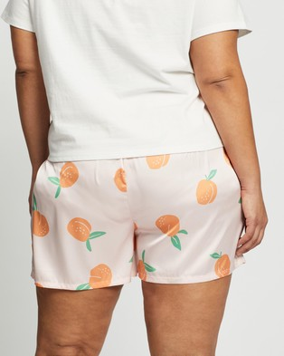Atmos&Here Curvy Peachy Sleep Shorts Sleepwear Peach Print