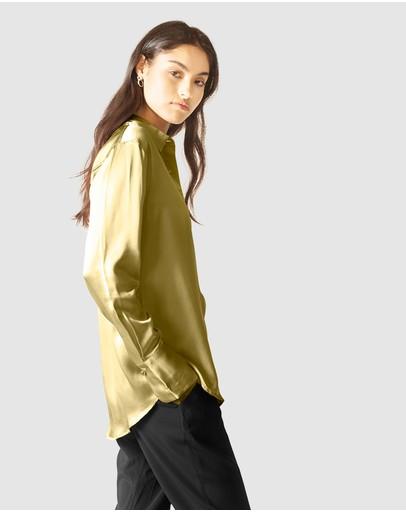 Ginia Rtw Silk Satin Poppy Shirt Boa Green