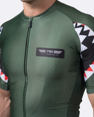 Pedal Mafia Mens Artist Series Jersey   Spitfire - Compression Tops (Olive)