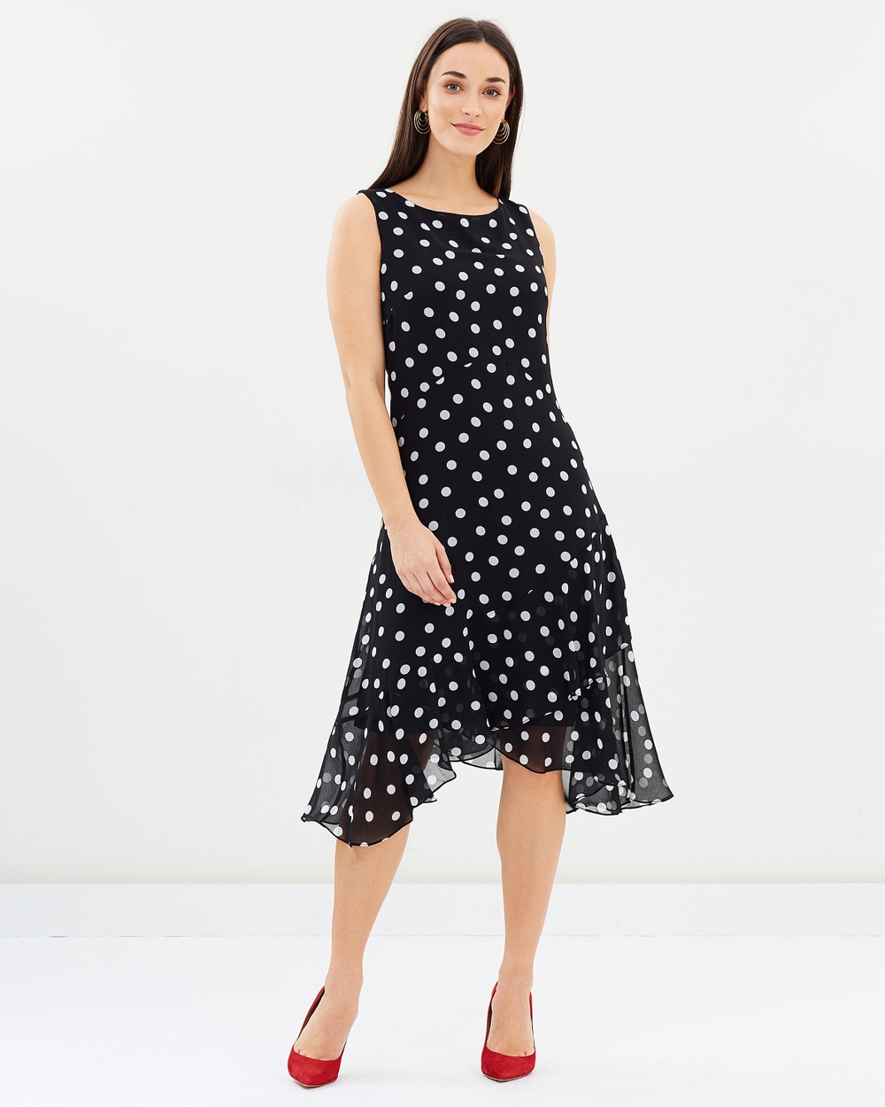 Wallis Polka Dot Ruffle Dress Printed Dresses Black Polka Dot Ruffle Dress