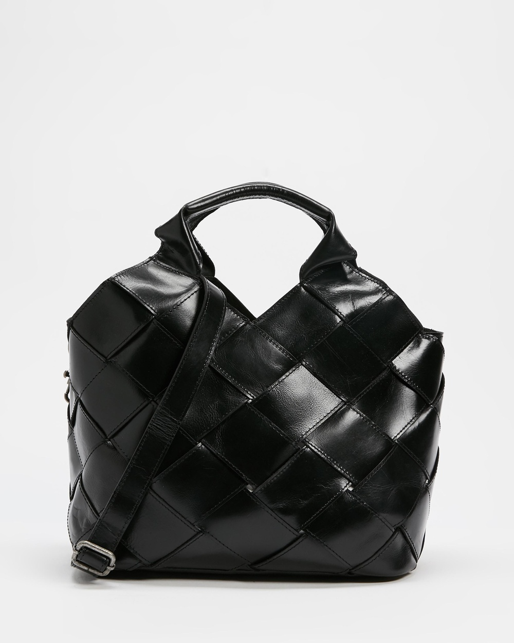 AERE Woven Leather Tote Handbags Bag Black Leather