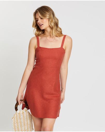 Thrills Primal Hemp Slip Dress Rocker Red
