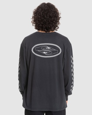 Quiksilver - Mens Originals Check Out Organic Long Sleeve T Shirt - Long Sleeve T-Shirts (Black) Mens Originals Check Out Organic Long Sleeve T-Shirt