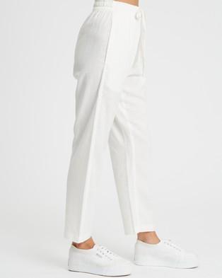 Calli Linen Blend Pants - Sweatpants (White)