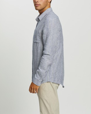 AERE Stripe Linen LS Shirt Casual shirts Blue