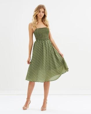 Atmos & Here – Maple Midi Dress – Printed Dresses Sage Polka Dot