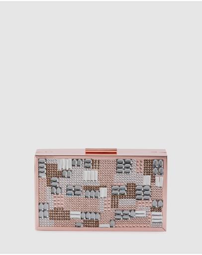 Olga Berg Riva Crystal Hot Fix Box Clutch Rose Gold