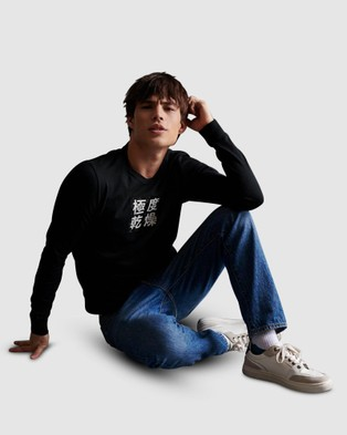 Superdry Stacked Kanji Long Sleeve Tee - Long Sleeve T-Shirts (Black)