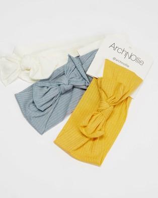 ArchNOllie Hush Head Wrap 3 Pack - Hair Accessories (Blue, Cream & Fire)