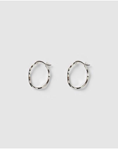 Izoa Herringbone Hoop Earrings Silver