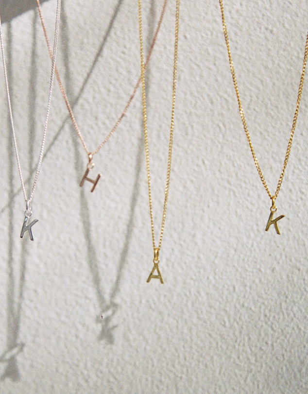 Women W Outline Initial Necklace