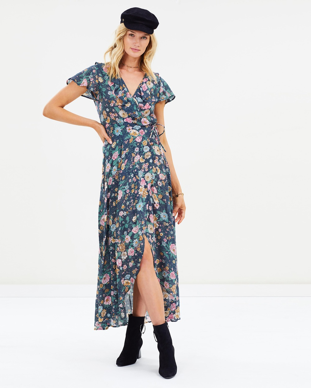 Auguste The Label Spring Rose Frill Neck Wrap Maxi Dress Printed Dresses Navy Spring Rose Frill Neck Wrap Maxi Dress