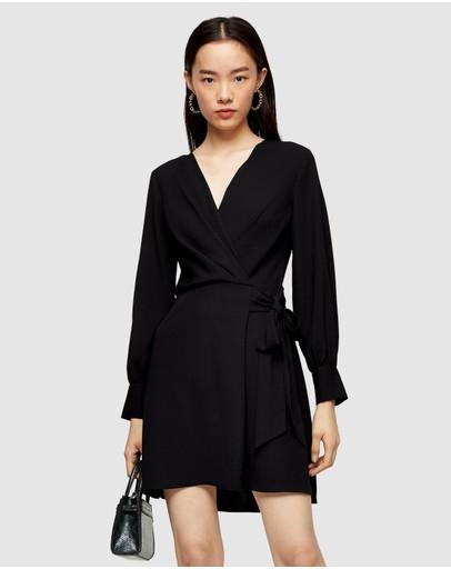 Topshop Petite Twist Front Dress Black
