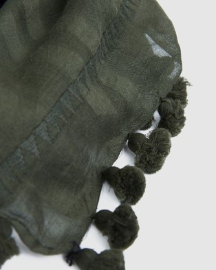 Cloth & Co. Hand Loomed Silk & Cotton Scarf - Scarves & Gloves (Forest)