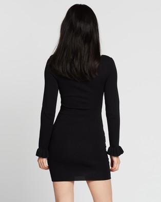 BY JOHNNY. Frill Cuff Ribbed Mini Dress - Bodycon Dresses (Black)