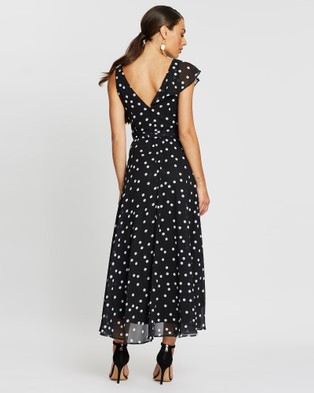 Montique Melanie Soft Printed Chiffon Dress - Printed Dresses (Black)