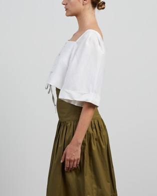 Shona Joy Blanca Lace Up Boxy Top - Cropped tops (Ivory)