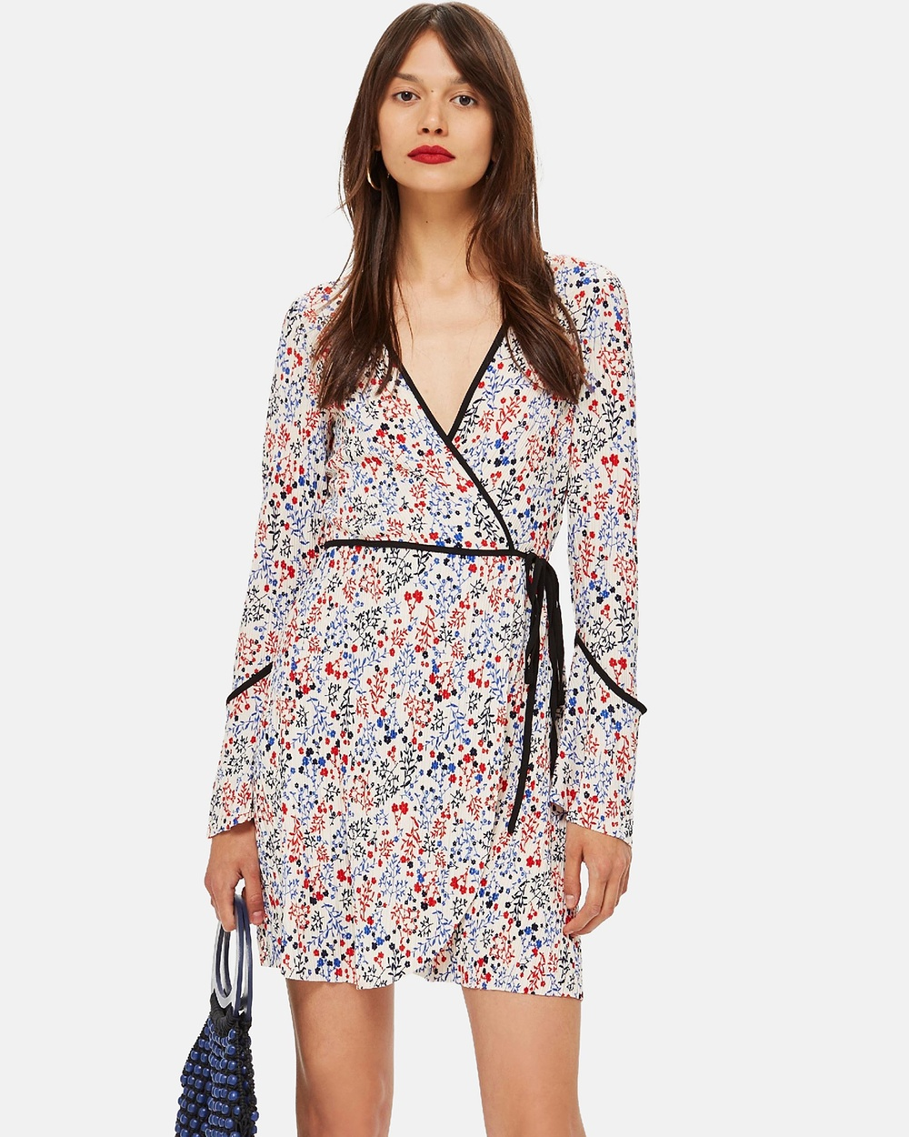 TOPSHOP Plisse Print Wrap Mini Dress Printed Dresses Multi Plisse Print Wrap Mini Dress