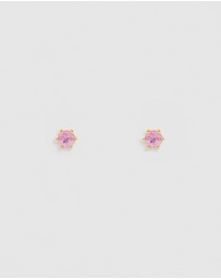 By Charlotte - 14k Gold Love Stud Earrings with Pink Sapphires