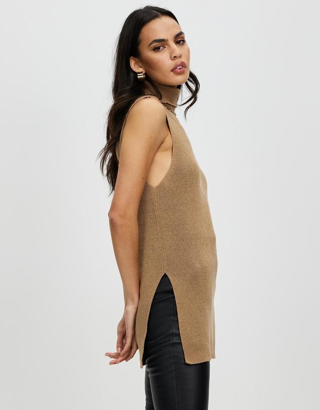 Women Sleeveless Turtleneck Ribbed Sweater