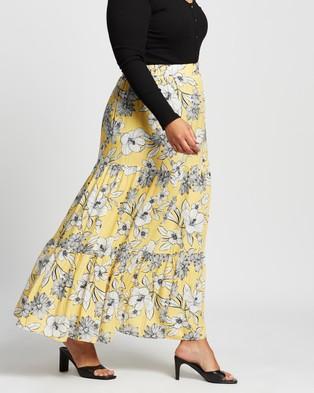 Atmos&Here Curvy - Jayne Skirt - Skirts (Yellow Stencil Floral) Jayne Skirt