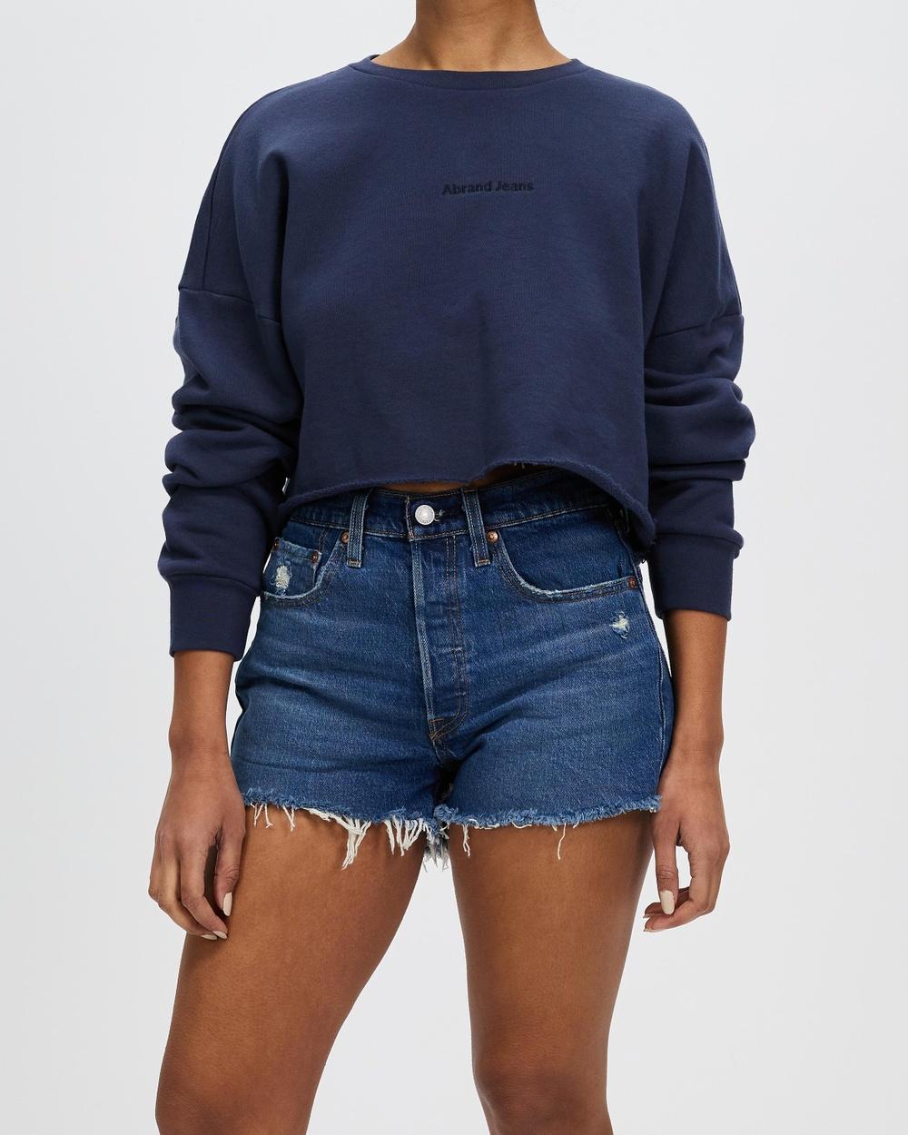 Abrand A Oversized Crop Sweater Sweats Navy