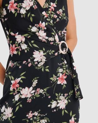 Forcast Ava Floral Belted Midi Dress - Dresses (Black)