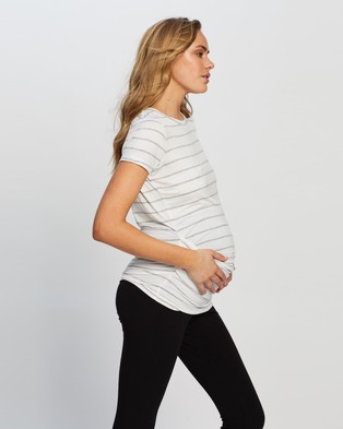 Cotton On Maternity Maternity Wrap Front Short Sleeve Top - Tops (Zoe Stripe White & Grey Marle)