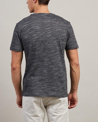 REISS Henley SS Melange Crew Neck Tee - T-Shirts & Singlets (Grey Melange)