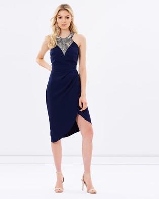 Little Mistress – Embellished Wrap Front Midi Dress – Dresses (Navy)