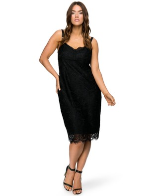 Lala Belle – Scalloped Lace Bra Dress Black