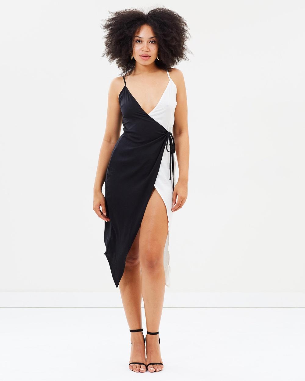 Missguided Monochrome Satin Wrap Dress Dresses Black Monochrome Satin Wrap Dress