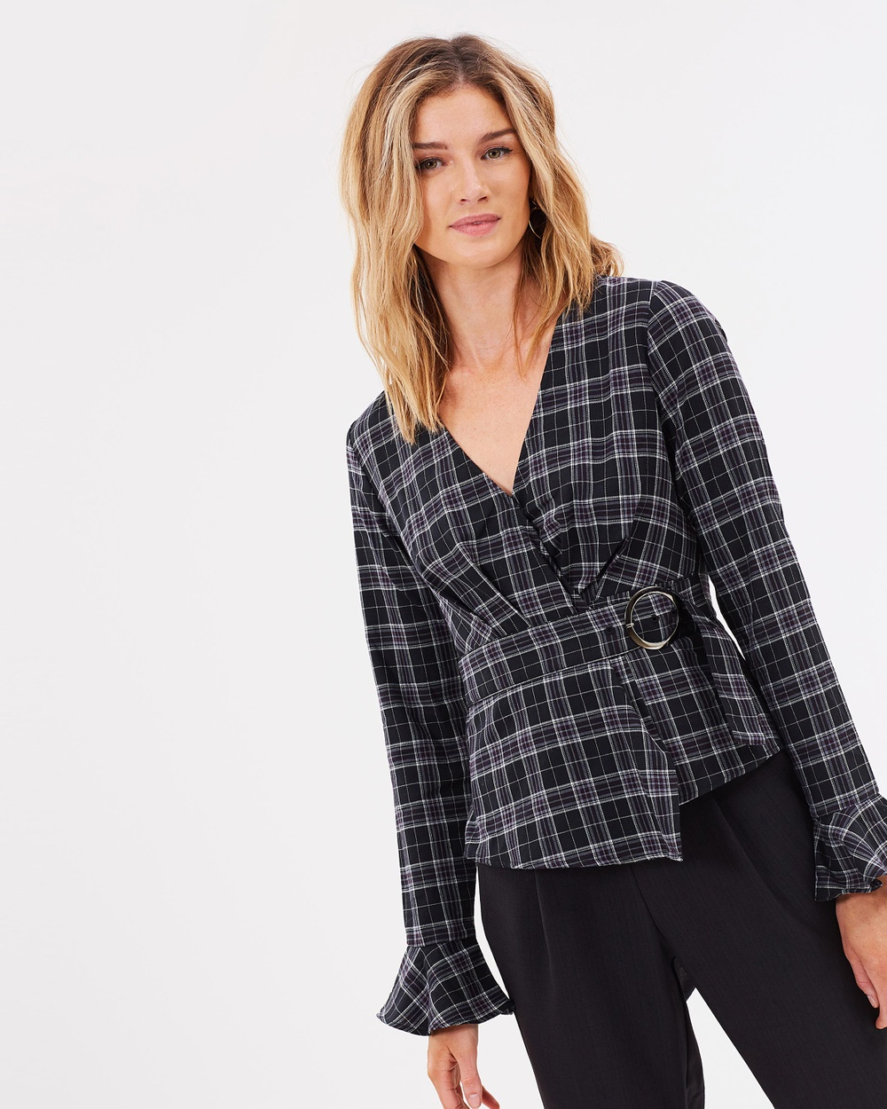 Atmos & Here ICONIC EXCLUSIVE Elsa Cotton Wrap Top Tops Dark Check ICONIC EXCLUSIVE Elsa Cotton Wrap Top