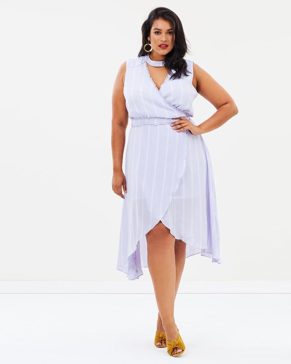 Atmos & Here Curvy ICONIC EXCLUSIVE Yulia Maxi Dress Dresses Lavender Stripe ICONIC EXCLUSIVE Yulia Maxi Dress