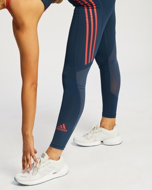adidas Performance 3 Stripes Tech Fit Tights - Full Tights (Crew Navy & Crew Red)