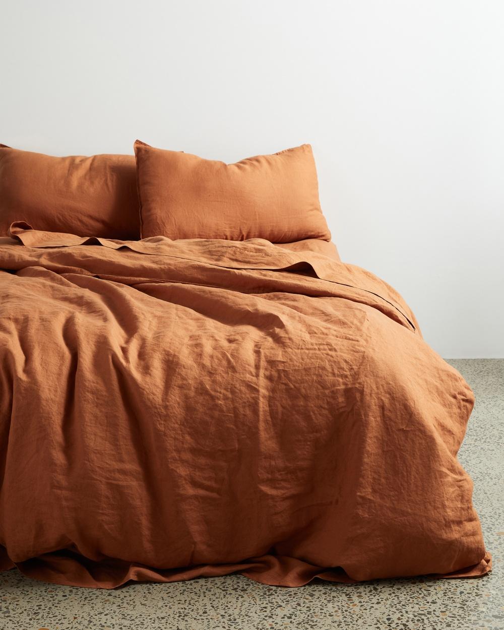 AERE Home Linen Quilt Cover Set Rust