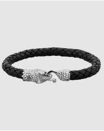 Kuzzoi - Bracelet Kuzzoi Men Buddha Leather Braided Black Oxide snake head 925 Sterling Silver