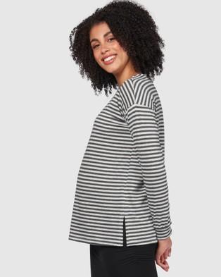 Pea in a Pod Maternity - Casey Nursing Top - Long Sleeve T-Shirts (Black Grey Marle Stripe) Casey Nursing Top