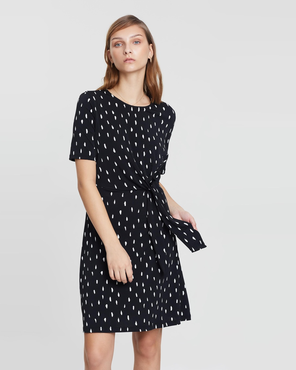Warehouse Black Brushed Stroke Tie Side Dress