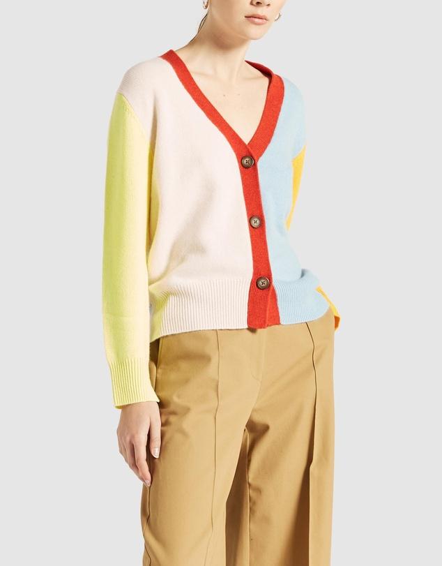 Women Cashmere Spliced Cardigan