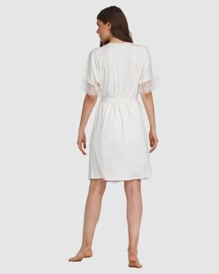 Oh!Zuza Lace Trim Robe - Sleepwear (Ivory)
