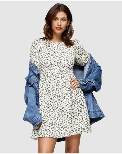 Topshop Ditsy Babydoll Puff Sleeve Dress Multi