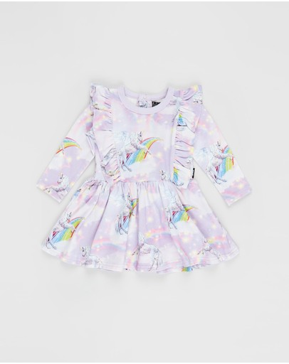 Rock Your Baby - ICONIC EXCLUSIVE - Purple Rain LS Frill Baby Dress - Babies